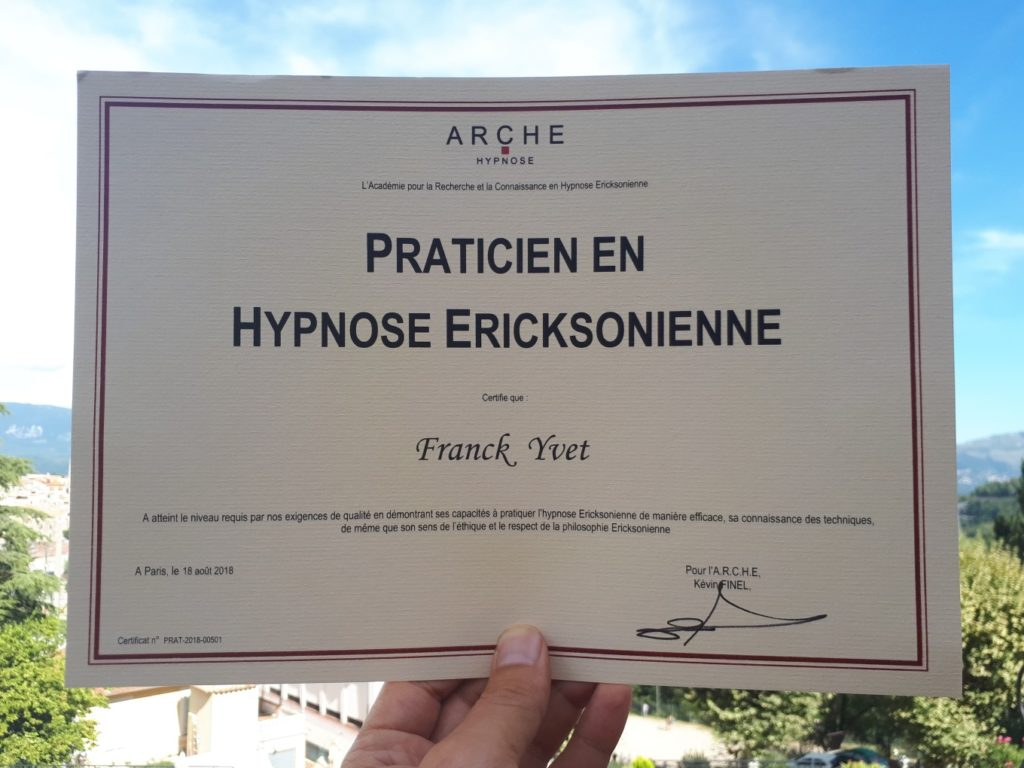 Diplôme de praticien en hypnose Ericksonienne
