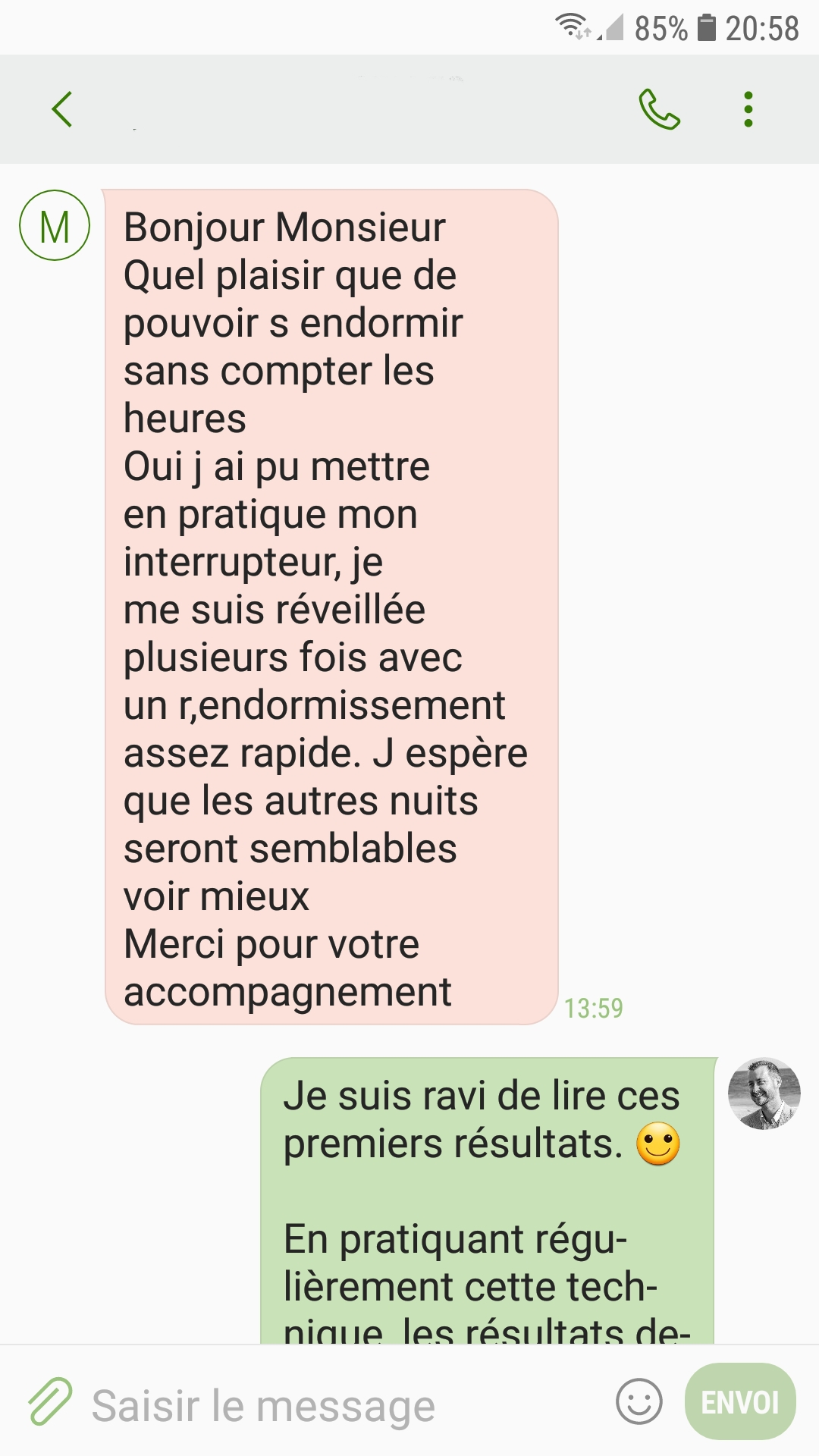 Capture d'écran d'un SMS envoyé par un client